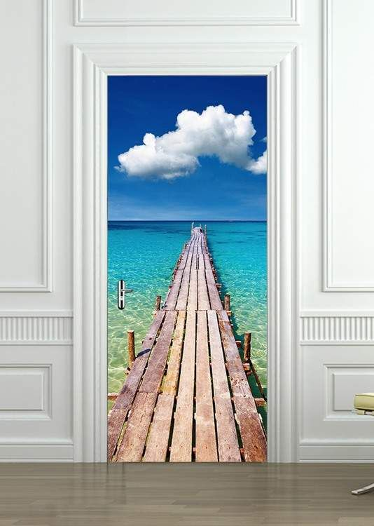 Self-Adhesive Sky Theme Door Wrap Wall Wood Fridge Mural Sticker Decal