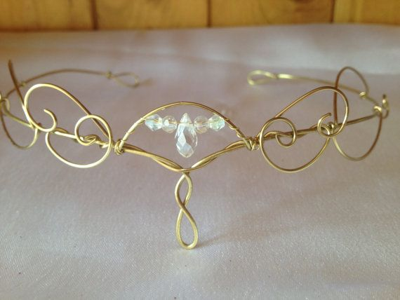 "I'm making wire crowns too- this one goes for $40.00 on Etsy. Plans for an Etsy account in the making...Gold Wire Elvin/Wedding Forehead Tiara  ""Aethelwyne"""