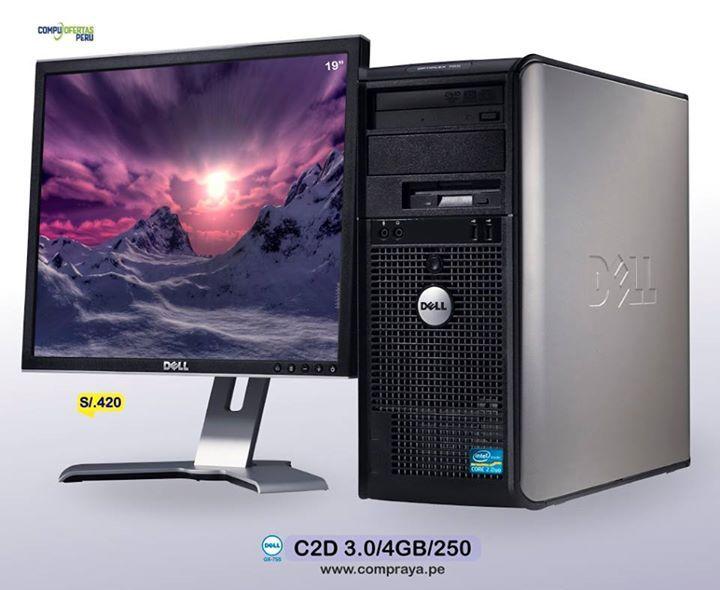 "PC DELL C2D 3.0Ghz + LCD 19"" S/. 420 =============================== * DELL Optiplex GX755 Core 2 Duo * Procesador Intel C2D 3.0Ghz 6mb * Memoria RAM de 4GB  * Disco Duro 250GB SATA 7200rppm  * Placa Intel Q35 Express  * Slot PCI Express 16x  * 8 Puertos USB * DVD rom * Conexion a RED RJ45 100/1000 * Incluye Teclado y Mouse  * ( + ) * Monitor LCD De 19"" DELL * Resolucion 1280 x 1024 a 60 HZ * 16.7 Million Colors * Conexion VGA / DVI  * AC 220v Directo * STOCK 100 COMPUTADORAS * Usado con…"