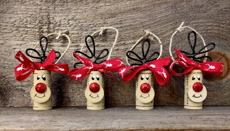 Set of 4 Wine Cork Reindeer Ornaments Rudolph by ReconditionaILove