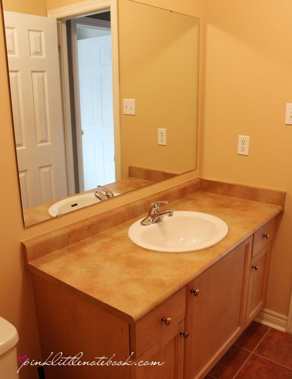 How To Frame Out That Builder S Grade Mirror The Easy Way Budgeting Bathroom Mirrors And