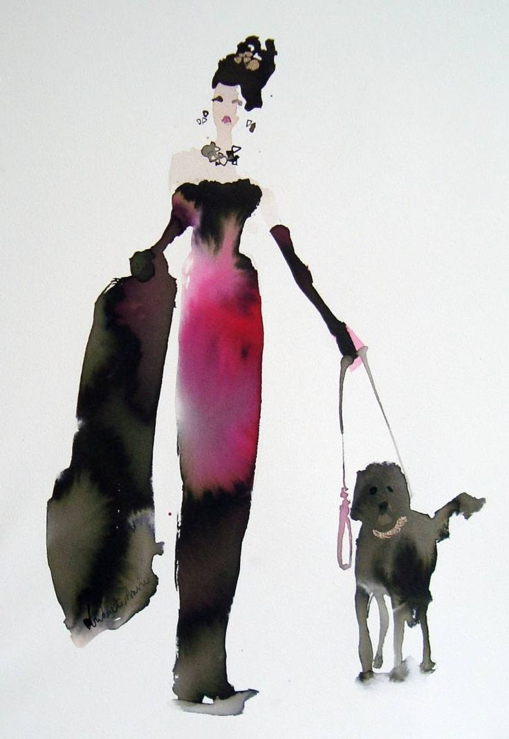 "Saatchi Art Artist Bridget Davies; Painting, ""Walking the Dogs - Purple Dress"" #art"