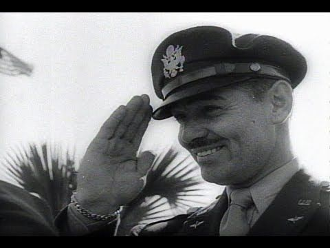 HD Historic Archival Stock Footage WWII - Clark Gable Wins Air Gunner Wings 1943 - YouTube