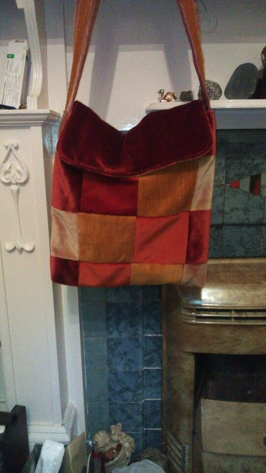 Patchwork bag made from heavy curtain weight velvet