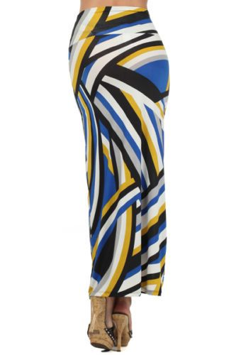 Assa-Blue-Multi-Color-Striped-Maxi-Skirt-Made-in-USA-Polyester-Blend-Large