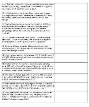 Percent Word Problems Worksheet 2 - Practice, Assessment T ...