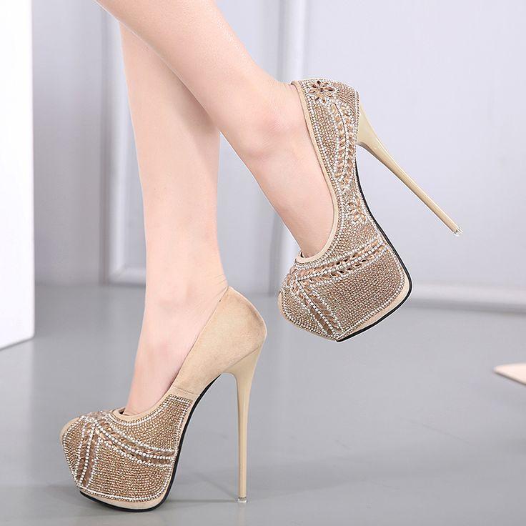 nude heels extreme high heels crystal shoes platform heels black pumps party shoes women rhinestone wedding shoes size34-40 X279