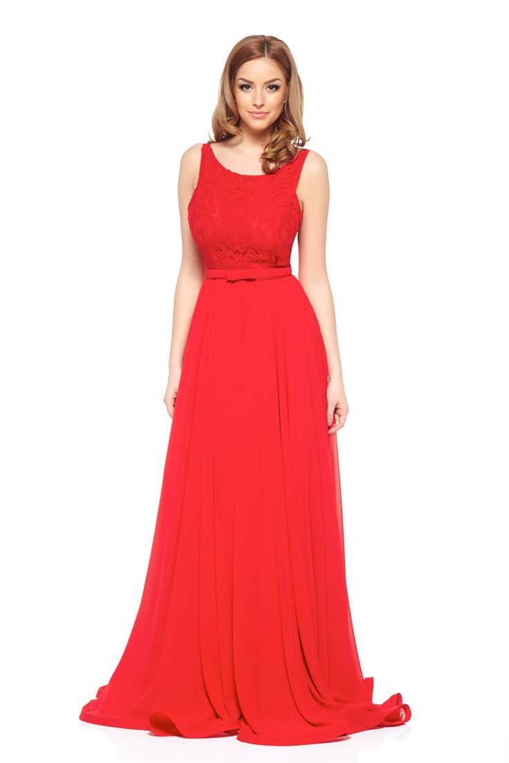 Ana Radu Atypical Red Dress, accessorized with tied waistband, bare back, back zipper fastening, inside lining, laced fabric, voile fabric