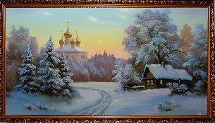 Маленькая деревушка - Зимний пейзаж <- Картины маслом <- Картины - Каталог | Универсальный интернет-магазин подарков и сувениров
