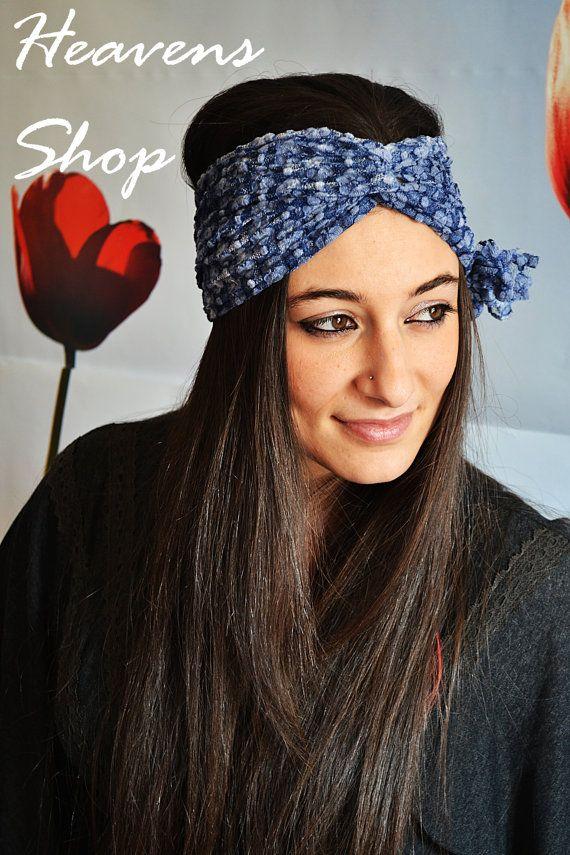 Blue Shades Headband Elastic Lace Turban With by HeavensShop, €14.00