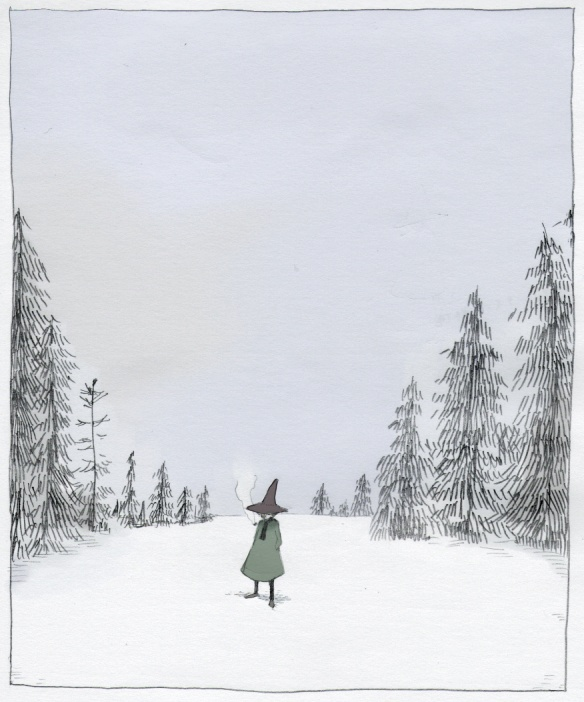 Snufkin in the winter | Moomin | Tove Jansson - - Finnish