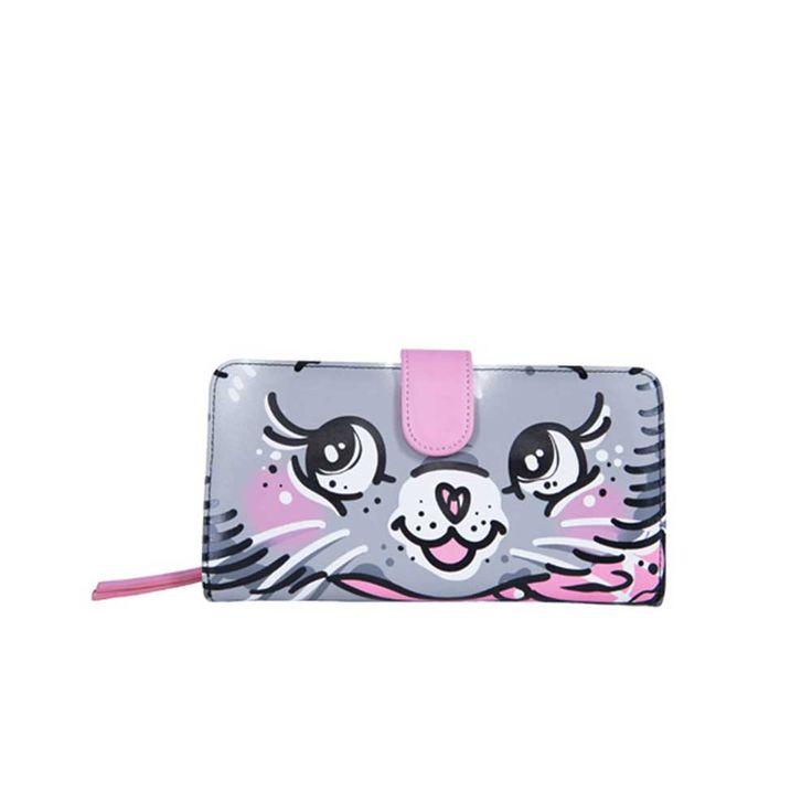 Pussycat portemonnee met kat print grijs/roze