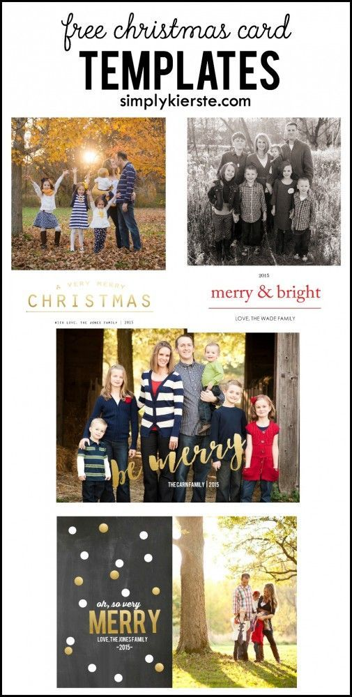 Four adorable and FREE Christmas card templates, no Photoshop required!! Step-by-step tutorial to easily adding your own photo!: