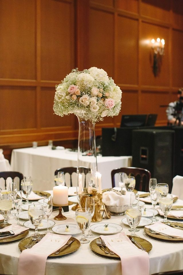 White Roses Baby S Breath And Hydrangeas With Light Pink Roses And Peach Rose Buds In A Tall