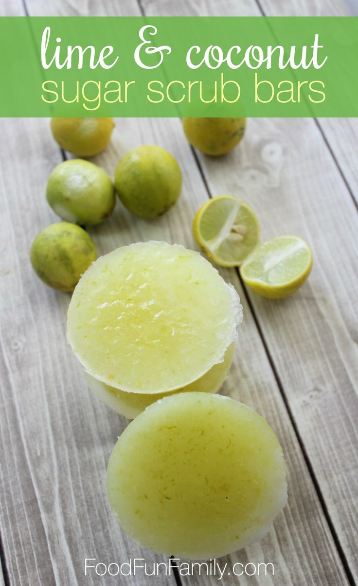 Lime and coconut sugar scrub bars using essential oils and skin-friendly…