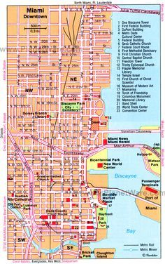 42 best miami maps images on pinterest miami miami beach and miami map tourist attractions sciox Gallery