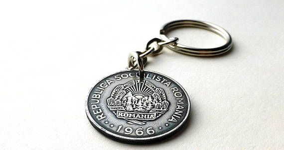 Romanian Coin keychain Men's accessory Men's gifts