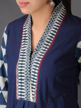 Blue - Ivory - Ecru Natural Dyed Ajrakh Cotton A-Line Kurta with Dupatta (Set of 2)