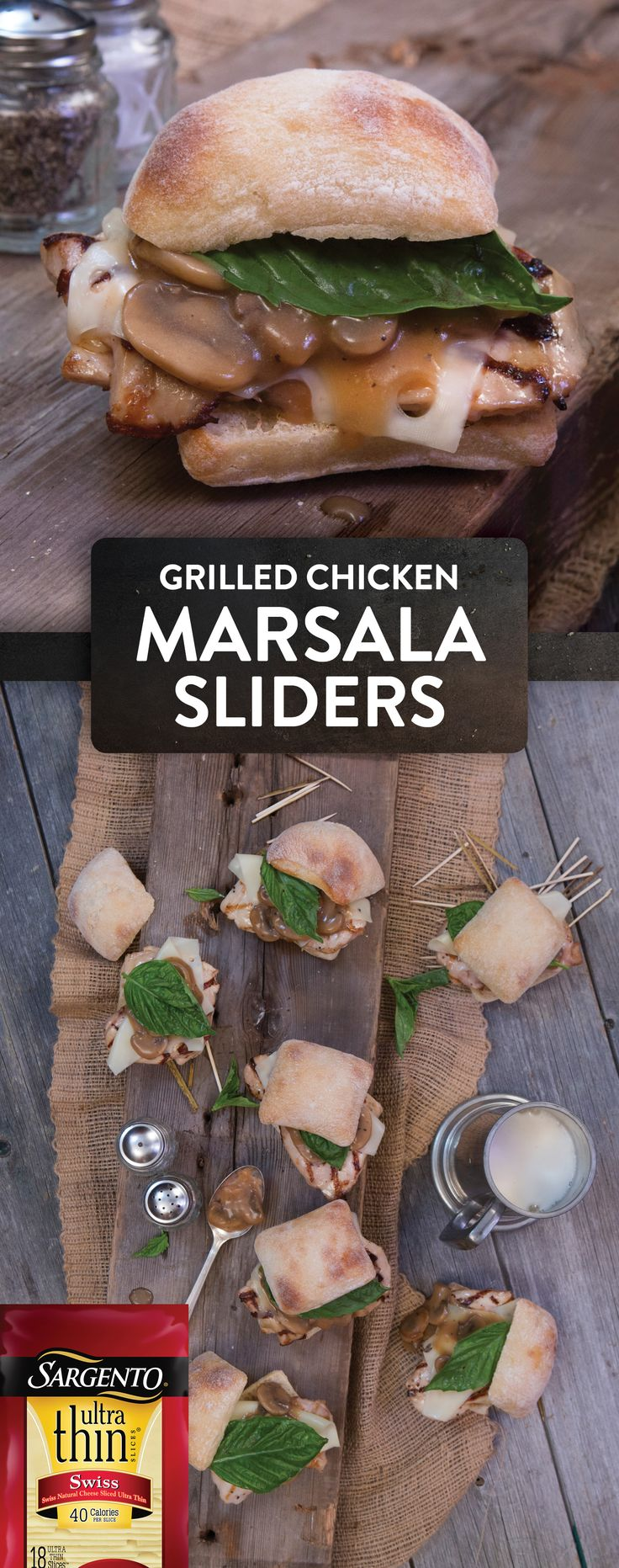 "They call them ""sliders"" because they slide directly off your plate and into your mouth, and these tasty tiny sandwiches will do just that. We've combined sweet marsala chicken, tender mushrooms, our savory Ultra Thin® Swiss Natural Cheese slices and sweet basil to create a unique slider that will satisfy everyone."
