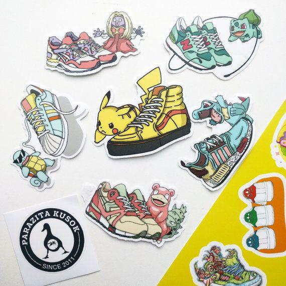 Sticker Pack Pokemon&Sneakers - 6 Cool vinyl stickers