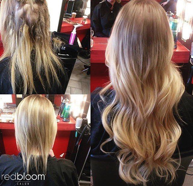 Hot Heads Extensions Before And After RedBloom Salon