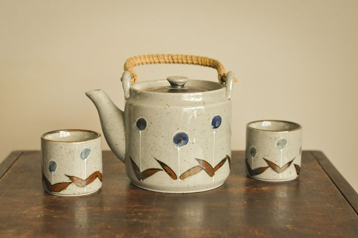 Vintage Tea Set Pot and 2 Cups Made in Japan Stoneware by drowsySwords on Etsy