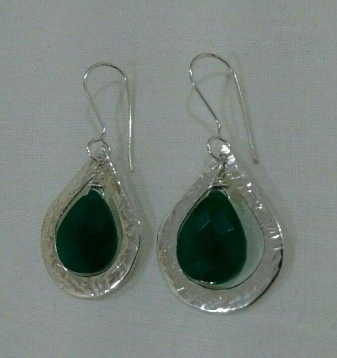 Aros de Plata y Onix Verde