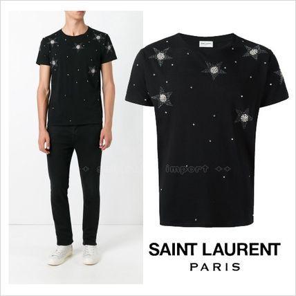 ●SALE●Saint Laurent ビーズ装飾 スター Tシャツサンローラン 2017 ファッション