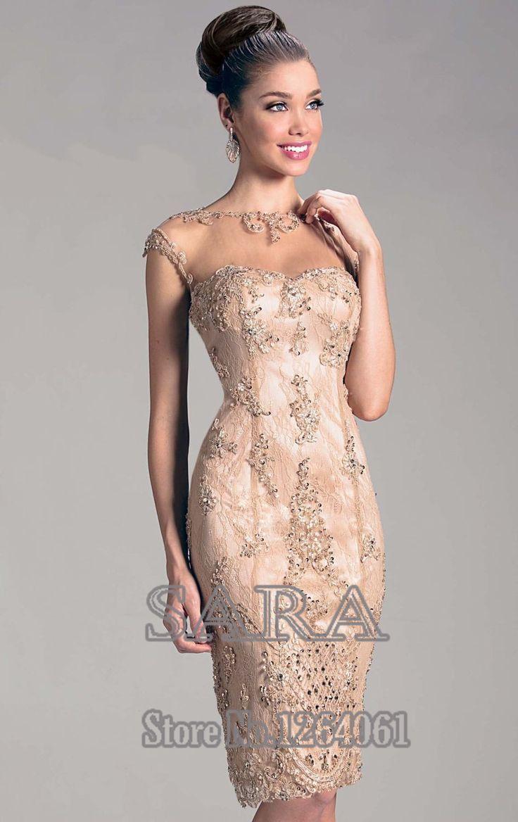 Горячие продажи 2015 Lace Оболочка Милая Аппликация втулки крышки самый лучший продавая сексуальный Короткие вечерние платья мать невесты платья