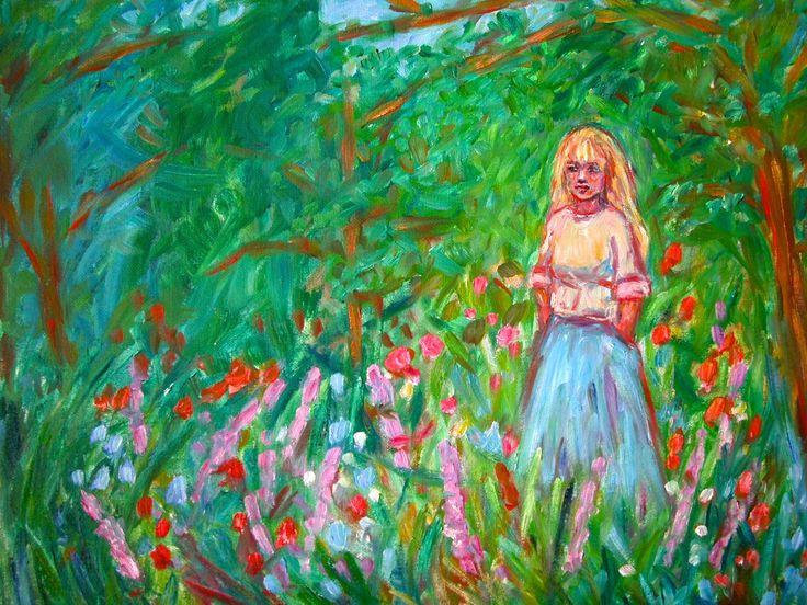 Figure Art Purple Nude Back Original Oil Painting of Female