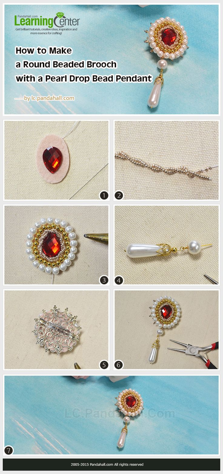 Do you like beaded brooches? You can see there is a round beaded brooch with a pearl drop pendant in the picture. Now, I will show you how to make it.