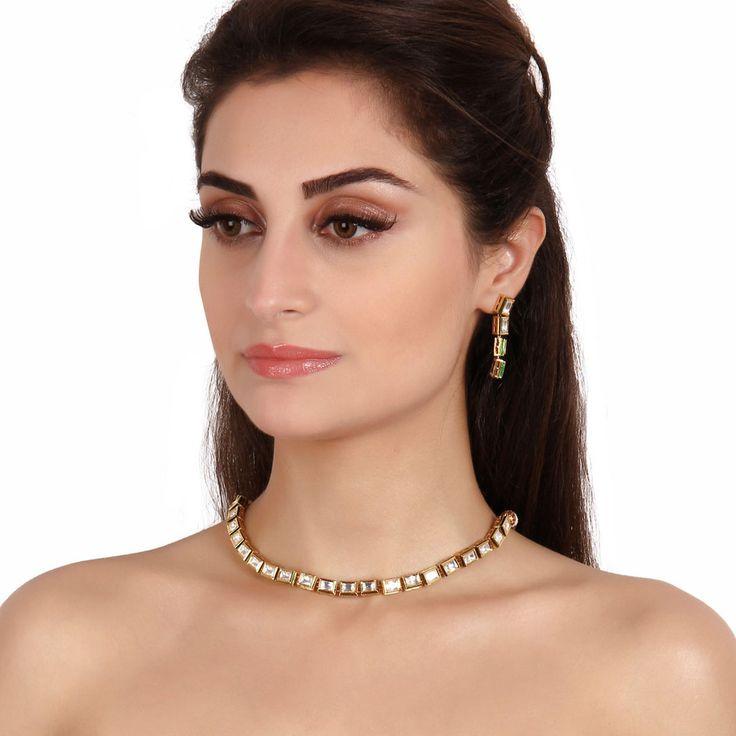 Kundan Necklace TAK144 #Kushals #Jewellery #Fashion #Indian #Jewellery #Necklace #Earrings #Designer #Fashion #choker #chain #Kundan