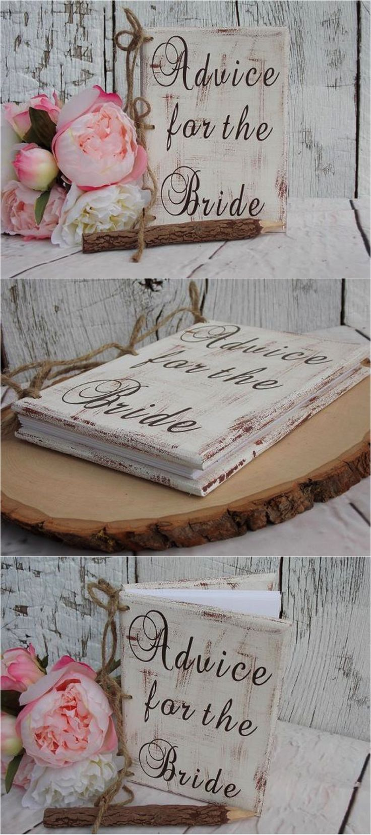 bridal shower keepsake book%0A Rustic Chic Advice for the Bride Book   Great idea for a Bridal Shower