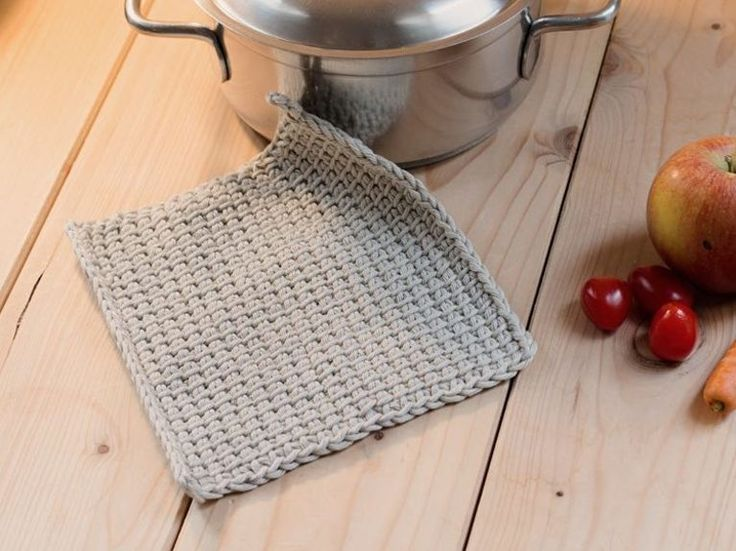 DIY-Anleitung: Topflappen tunesisch häkeln, Küchenutensilien / DIY-tutorial: crocheting tunisian oven cloth, potholder, kitchen utensils via DaWanda.com