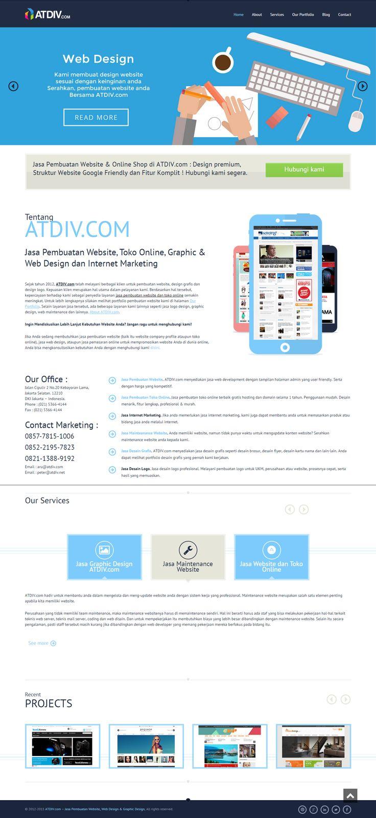 Homepage ATDIV.com, Jasa Pembuatan Website Jakarta. ATDIV.com menyediakan jasa web development dengan tampilan halaman admin yang user friendly. Serta dengan harga yang kompetitif.
