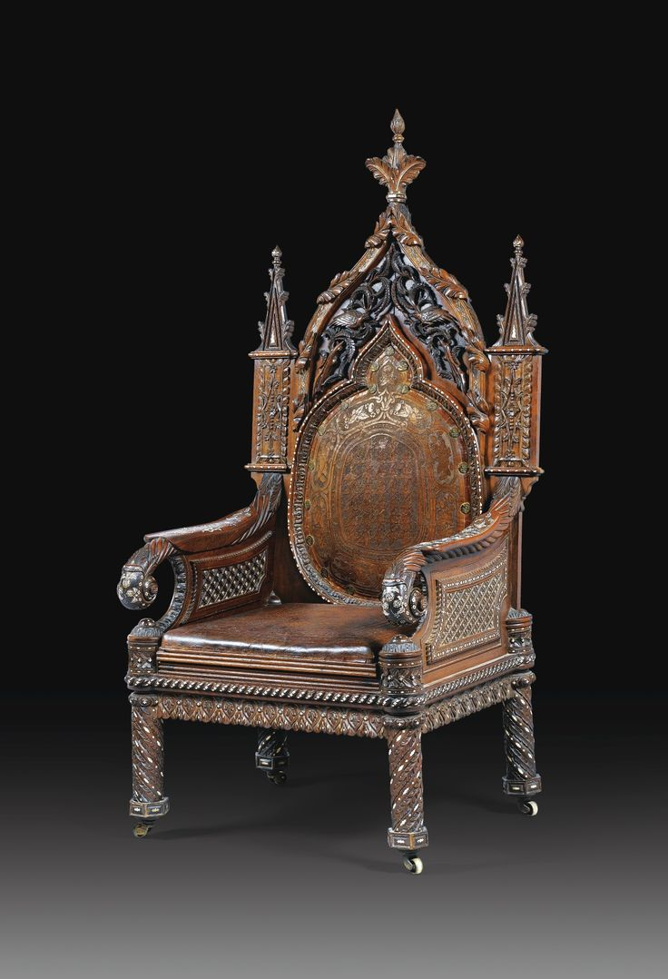 A CARVED WOOD AND IVORY INLAID LARGE ARMCHAIR, PROBABLY INDO PORTUGUESE,  SECOND HALF · Gothic FurnitureAntique ...