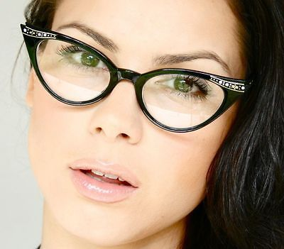 50's Retro Vintage Sexy Olho De Gato Preto Gradiente Moldura Óculos Transparent Óculos