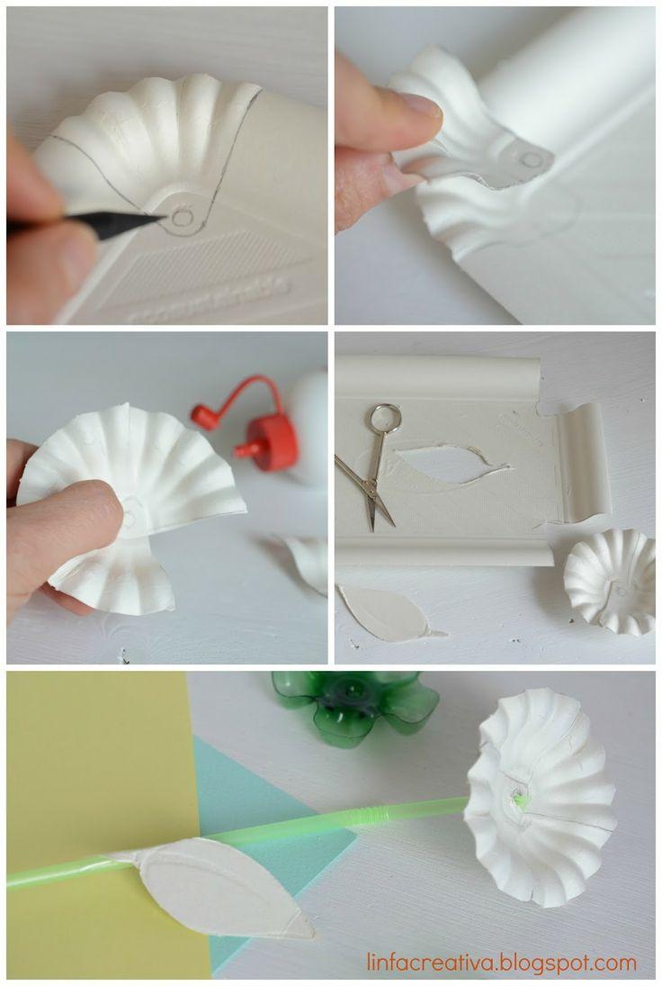 Realizzare un fiore con un vassoio di cartone riciclato