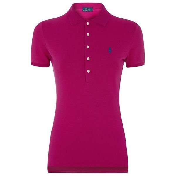 Polo Ralph Lauren Julie Polo Shirt ($135) ❤ liked on Polyvore featuring tops, purple top, short sleeve cotton tops, embroidered polo shirts, short sleeve cotton shirts and shirts & tops