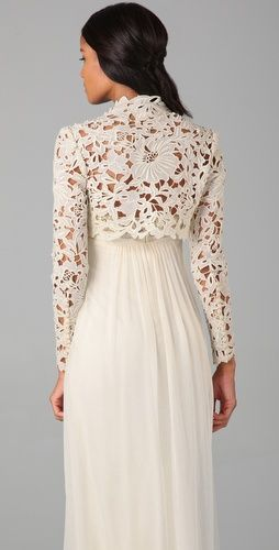 lace shrug & the draping of the back of the dress is perfect.