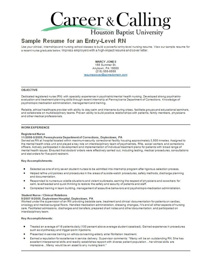 Psychiatric Nurse Resume Sample -    resumesdesign - objectives for nursing resume