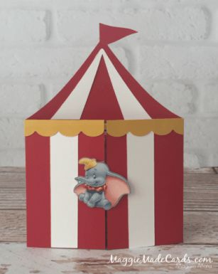 Circus Tent Invitation, a tag of your choice can be added to the front.  #theCARDiologist MaggieMadeCards.com/custom-made