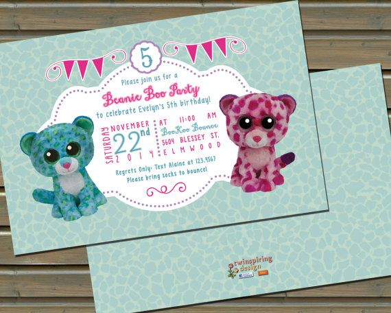20 or 30 Printed Beanie Boo Birthday Party Invitations by TwinspiringDesign