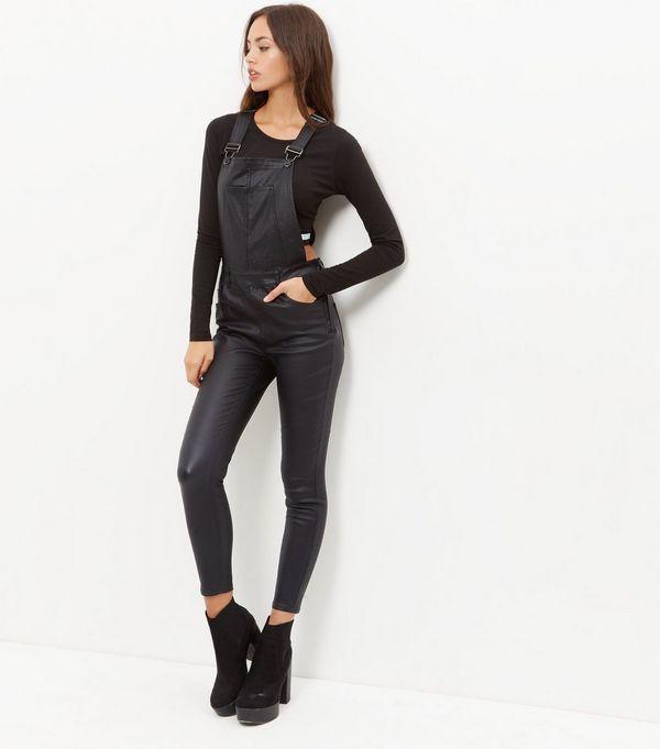 Black Coated Super Skinny Dungarees | New Look