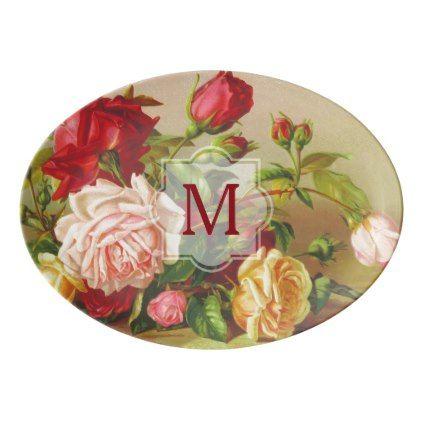 #createyourown #customize - #Monogram Vintage Victorian Roses Bouquet Flowers Porcelain Serving Platter