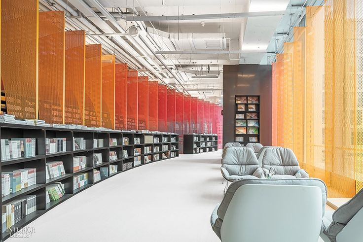 Wutopia Lab made a canopy of perforated, powder-coated aluminum the defining feature of the Zhongshuge bookstore in Suzhou, China. Photography by CreatAR Images.