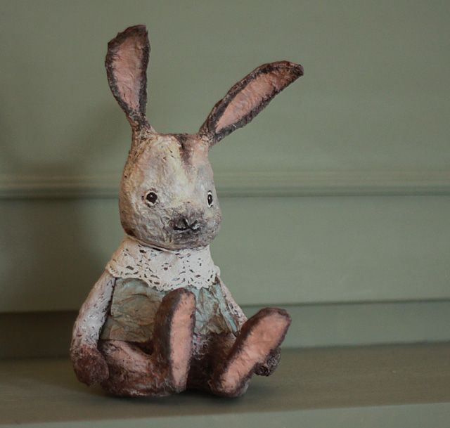 Handmade vintage inspired bunny decoration by Pastellipäivä. Made of paper!