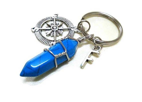 Turquoise Keyring Gemstone Keychain Initial Keyring Compass
