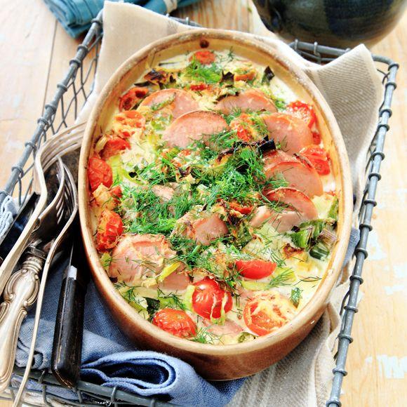 Recept på Falukorv i ugnen med pepparrotsgrädde från - Hemmets Journal