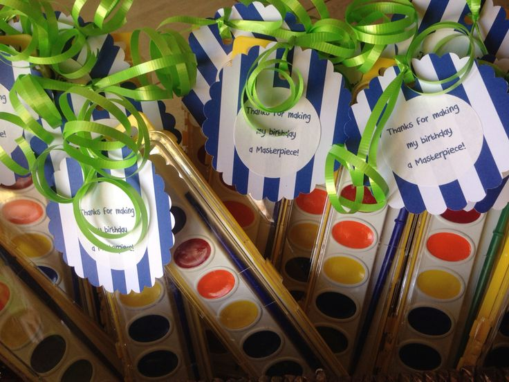 Little Einsteins party favors- individual paint sets with thank you tag.